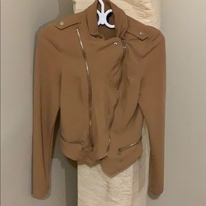 Jackets & Blazers - Asymmetrical Blazer w/ Zippers - Tan